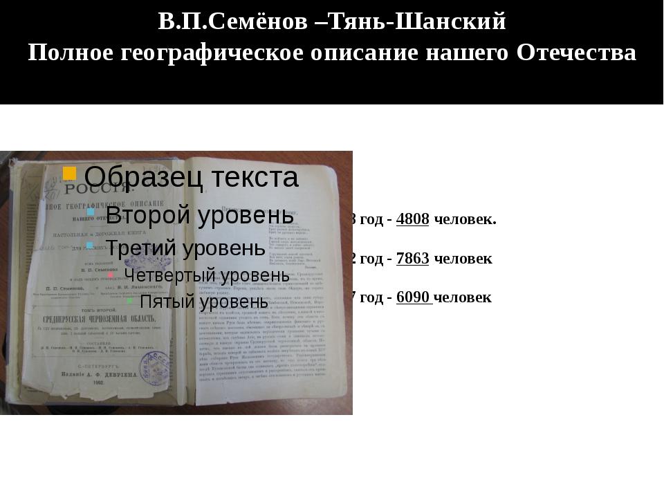 1858 год - 4808 человек. 1872 год - 7863 человек 1897 год - 6090 человек В.П...