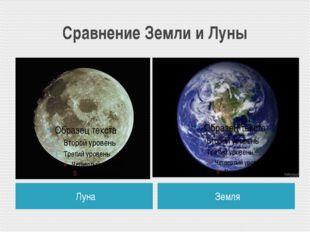 Сравнение Земли и Луны Луна Земля