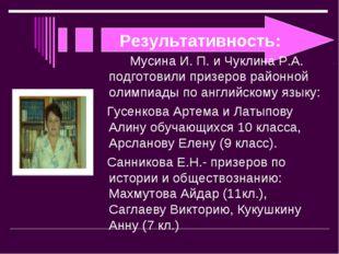 Результативность: Мусина И. П. и Чуклина Р.А. подготовили призеров районной