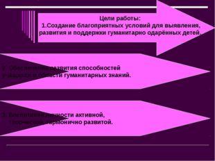 Цели работы: 1.Создание благоприятных условий для выявления, развития и подде