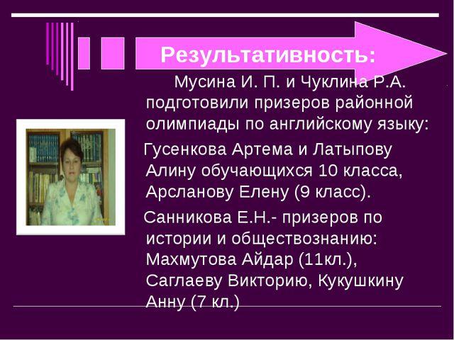 Результативность: Мусина И. П. и Чуклина Р.А. подготовили призеров районной...