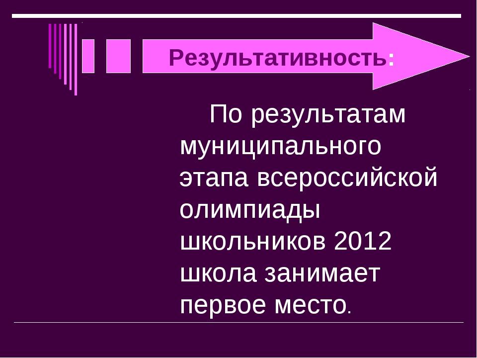 Результативность: По результатам муниципального этапа всероссийской олимпиа...