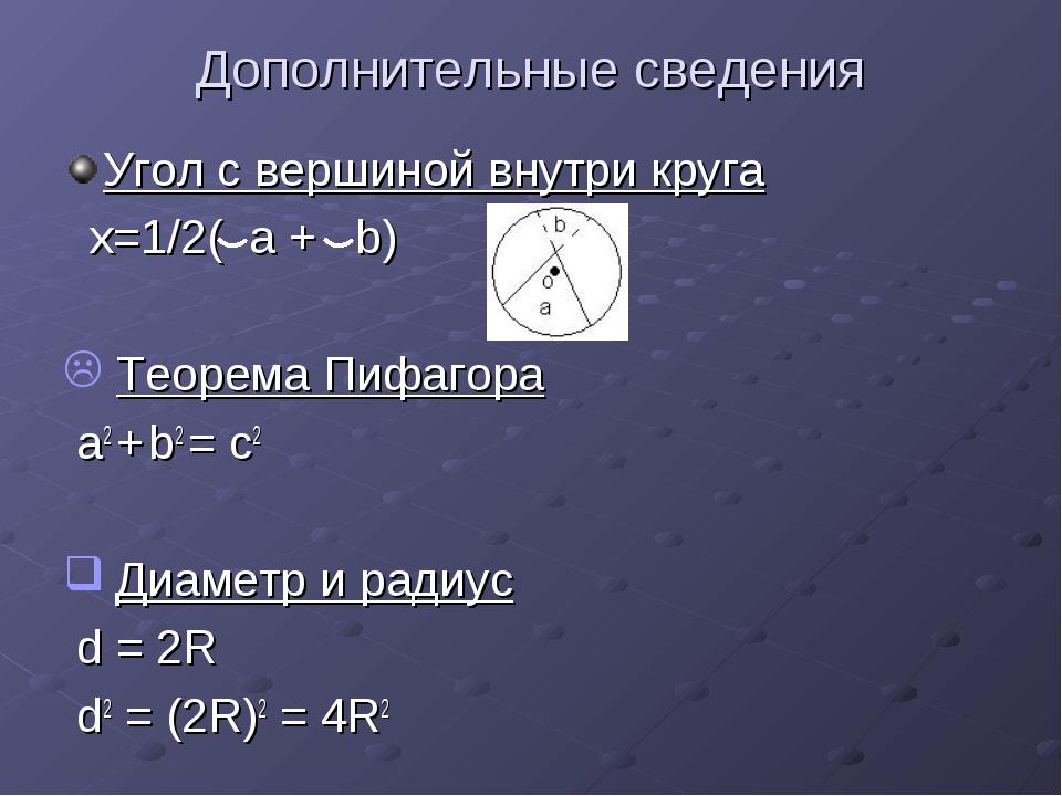Дополнительные сведения Угол с вершиной внутри круга x=1/2( a + b) Теорема Пи...