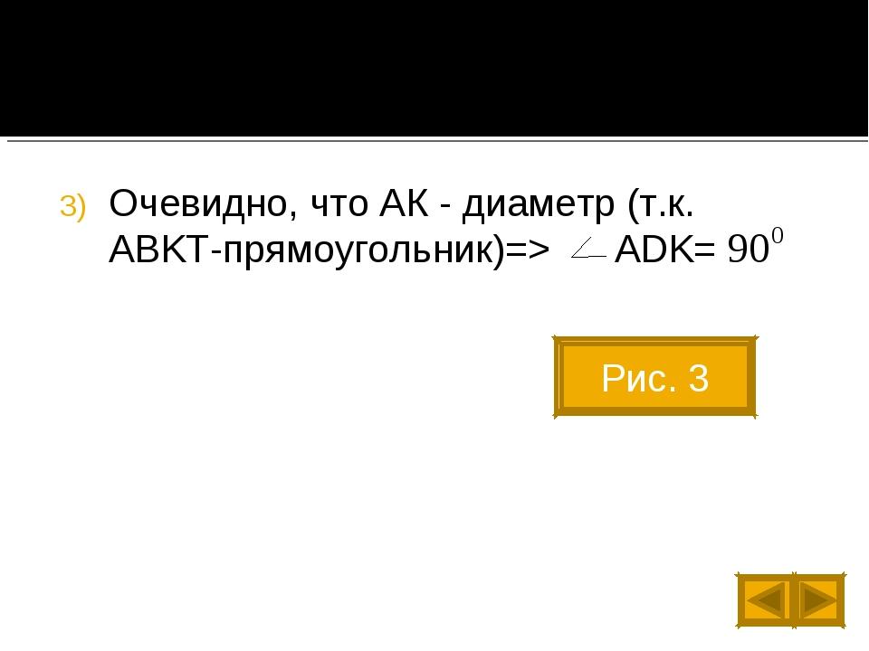 Очевидно, что АК - диаметр (т.к. ABKT-прямоугольник)=> ADK= Рис. 3