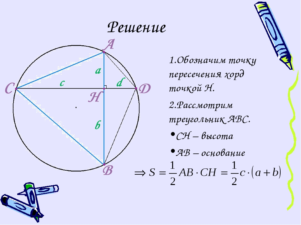 Решение Обозначим точку пересечения хорд точкой Н. Рассмотрим треугольник АВС...