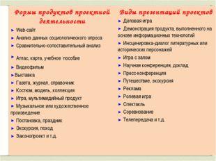 Формы продуктов проектной деятельности Web-сайт Анализ данных социологическог
