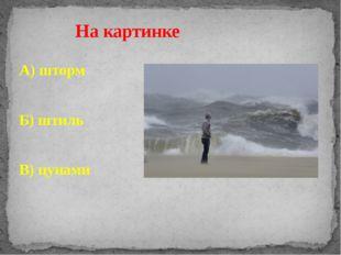 А) шторм Б) штиль В) цунами На картинке