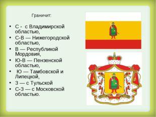 Граничит: С - с Владимирской областью, С-В — Нижегородской областью, В — Рес