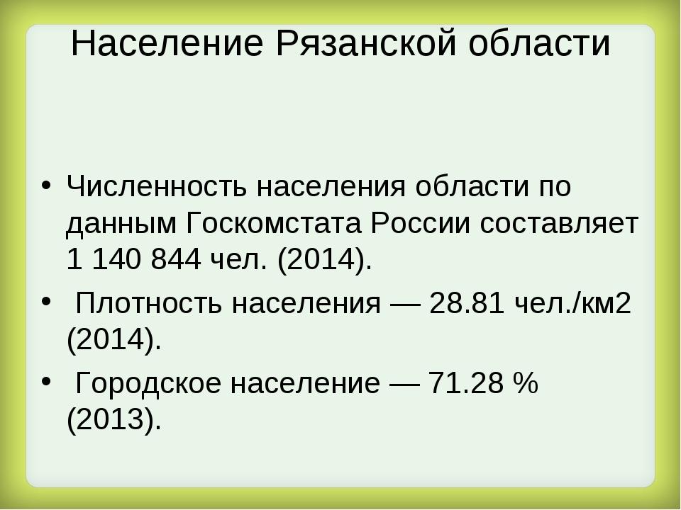 Население Рязанской области Численность населения области по данным Госкомста...