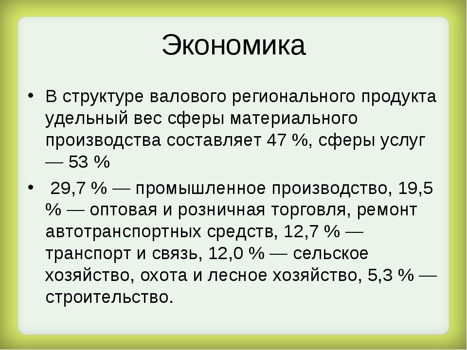 Экономика В структуре валового регионального продукта удельный вес сферы мате...