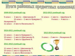 2009-2010 учебный год 2012-2013 учебный год 9 класс - 2 место – Швечикова В 1