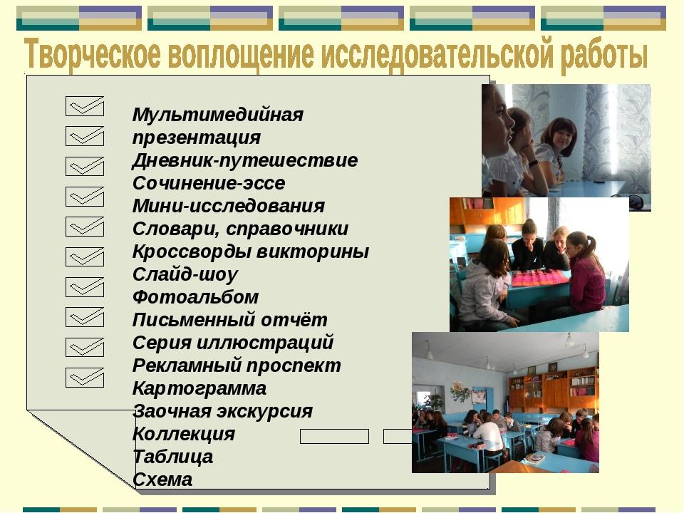 Мультимедийная презентация Дневник-путешествие Сочинение-эссе Мини-исследован...
