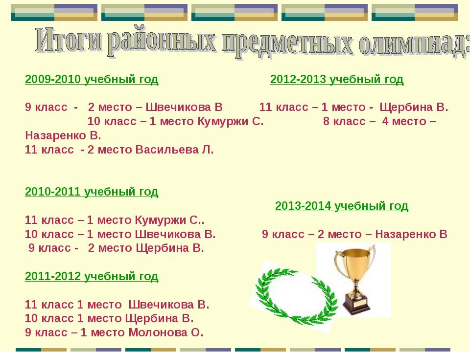 2009-2010 учебный год 2012-2013 учебный год 9 класс - 2 место – Швечикова В 1...