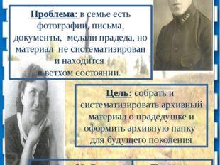 Проект «Чтобы помнили…» Проблема: в семье есть фотографии, письма, документы