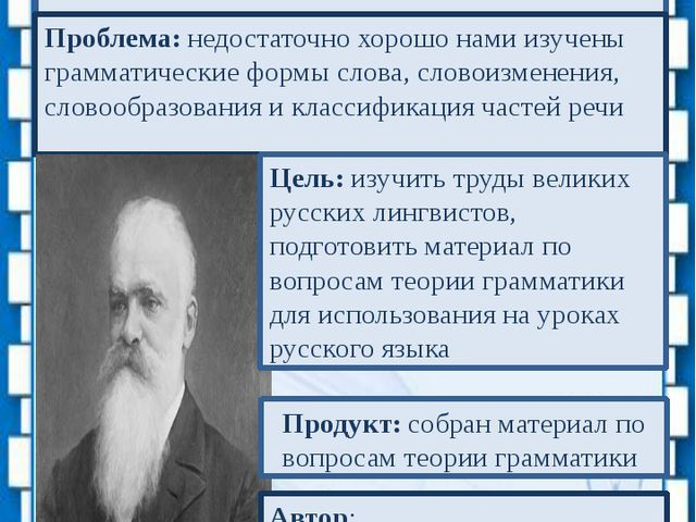 Проект «Великие русские лингвисты. Открытия Ф.Ф. Фортунатова» 2012 г. Проблем...