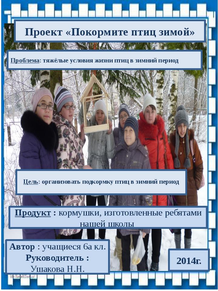 Проблема: тяжёлые условия жизни птиц в зимний период 2014г. Цель: организова...