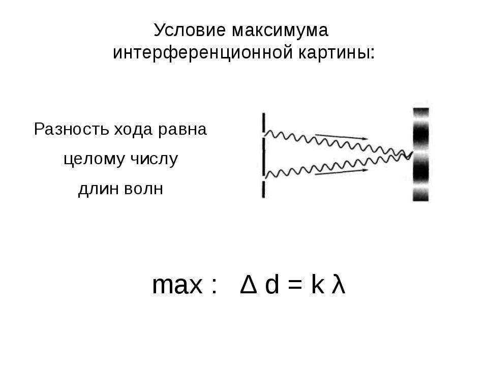 Условие максимума интерференционной картины: Разность хода равна целому числу...