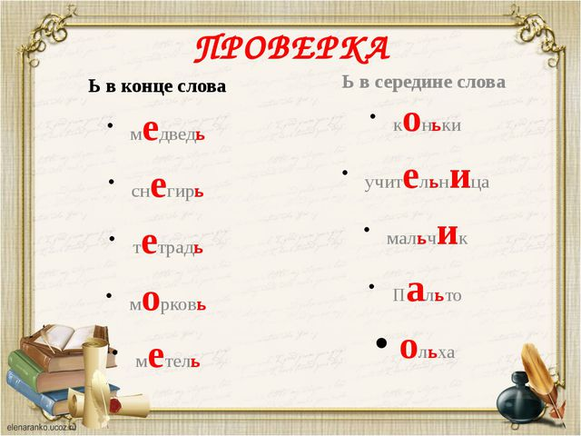 ПРОВЕРКА Ь в конце слова медведь снегирь тетрадь морковь метель Ь в середине...