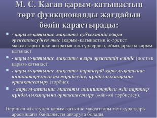 М. С. Каган қарым-қатынастың төрт функционалды жағдайын бөліп қарастырады: -