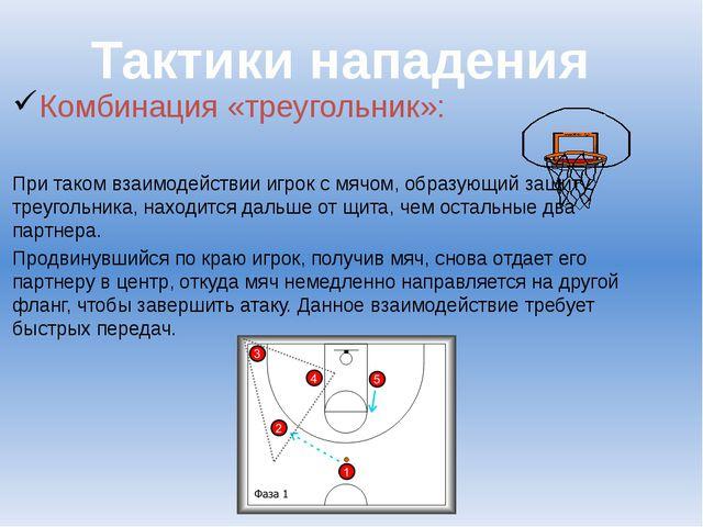 Комбинация «треугольник»: При таком взаимодействии игрок с мячом, образующий...