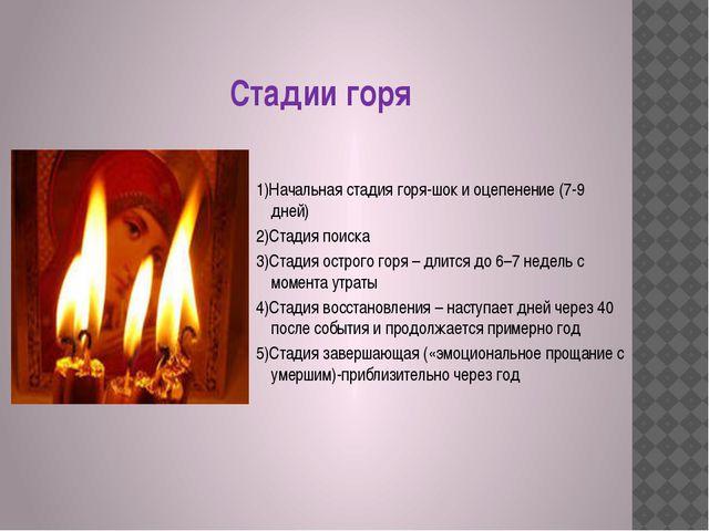 Стадии горя 1)Начальная стадия горя-шок и оцепенение (7-9 дней) 2)Стадия пои...