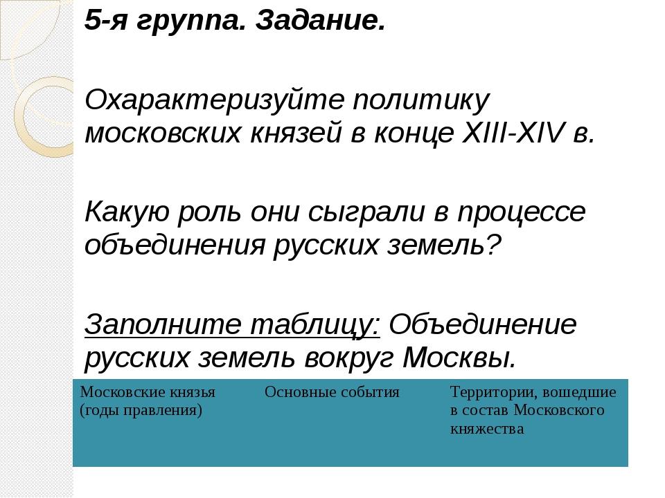 5-я группа. Задание. Охарактеризуйте политику московских князей в конце XIII-...