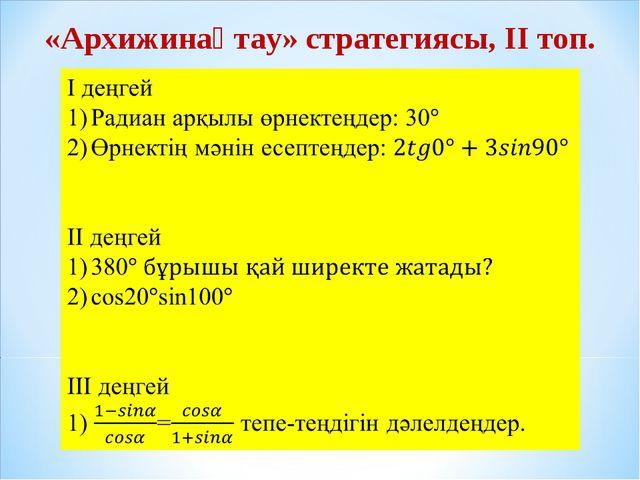 «Архижинақтау» стратегиясы, ІІ топ.
