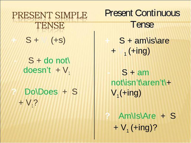 + S + V1 (+s) - S + do not\ doesn't + V1 ? Do\Does + S + V1? Present Continuo...