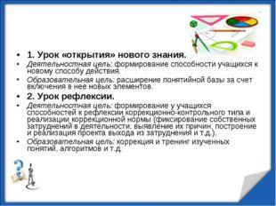 1. Урок «открытия» нового знания. Деятельностная цель: формирование способнос