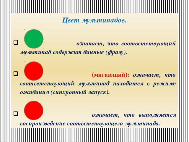 Цвет мультипадов. означает, что соответствующий мультипад содержит данные (фр...
