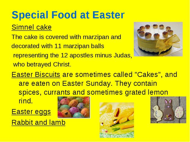 Special Food at Easter Simnel cake The cake is covered with marzipan and deco...