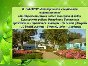 В ГБС/К/ОУ «Маскаринская специальная /коррекционная/ общеобразовательная школ