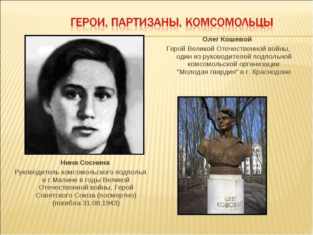 Нина Соснина Руководитель комсомольского подполья в г.Малине в годы Великой...