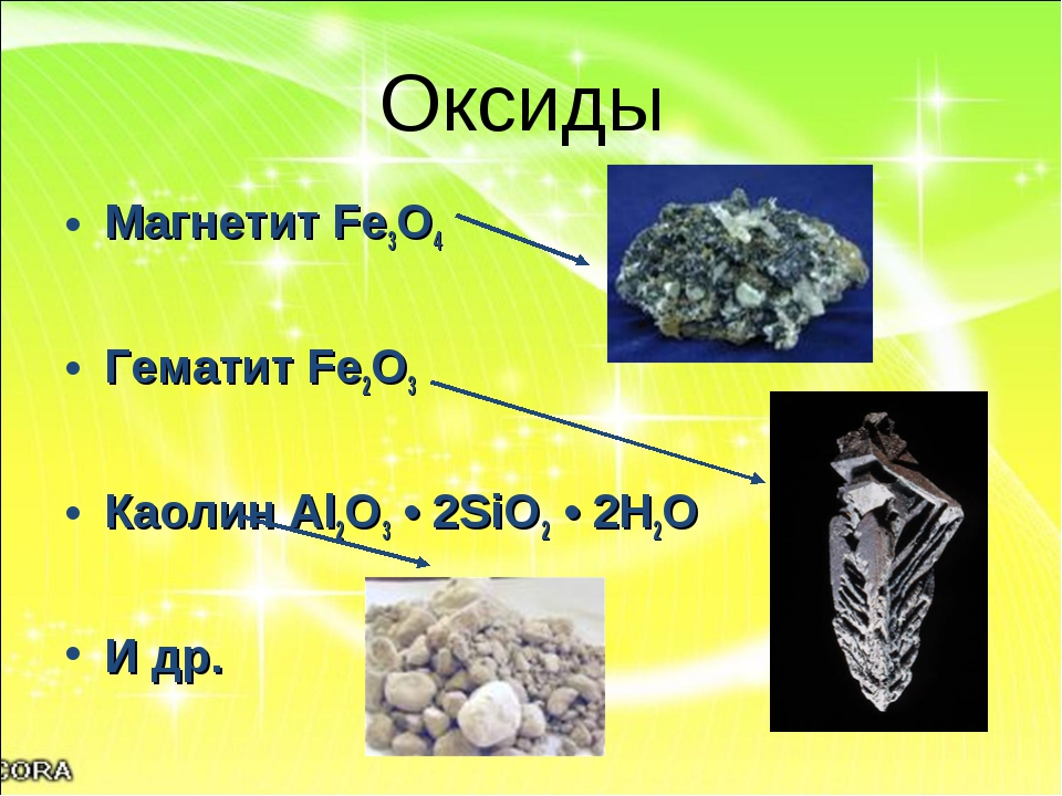 Оксиды Магнетит Fe3O4 Гематит Fe2O3 Каолин Al2O3 • 2SiO2 • 2H2O И др.