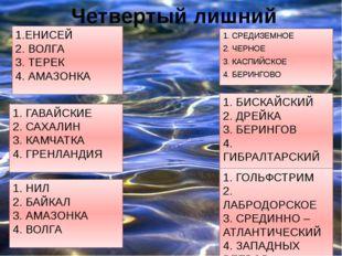 Четвертый лишний 1. СРЕДИЗЕМНОЕ 2. ЧЕРНОЕ 3. КАСПИЙСКОЕ 4. БЕРИНГОВО 1. ГАВАЙ