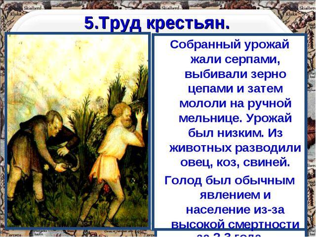 5.Труд крестьян. Основным занятием крестьян была работа на земле. Труд кресть...