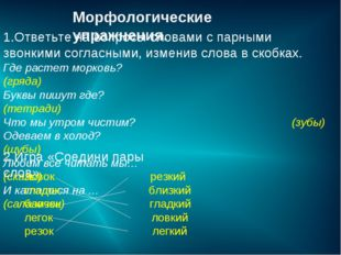 Морфологические упражнения. 1.Ответьте на вопросы словами с парными звонкими