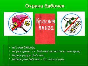 Охрана бабочек не лови бабочек; не рви цветы, т.к. бабочки питаются их нектар