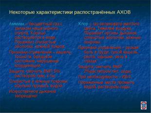 Некоторые характеристики распостранённых АХОВ Аммиак – бесцветный газ с запах