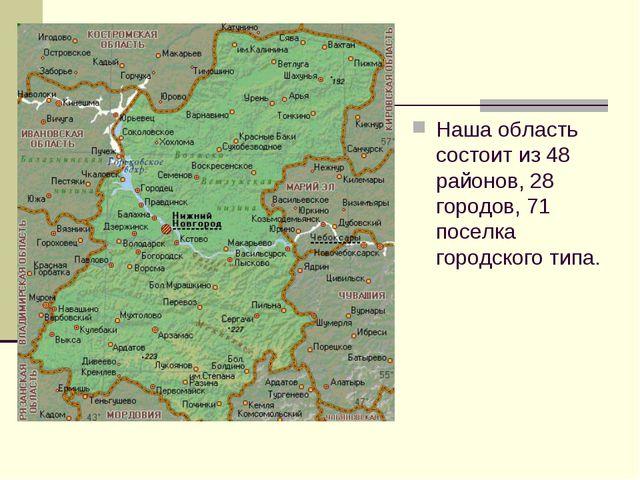 Наша область состоит из 48 районов, 28 городов, 71 поселка городского типа.