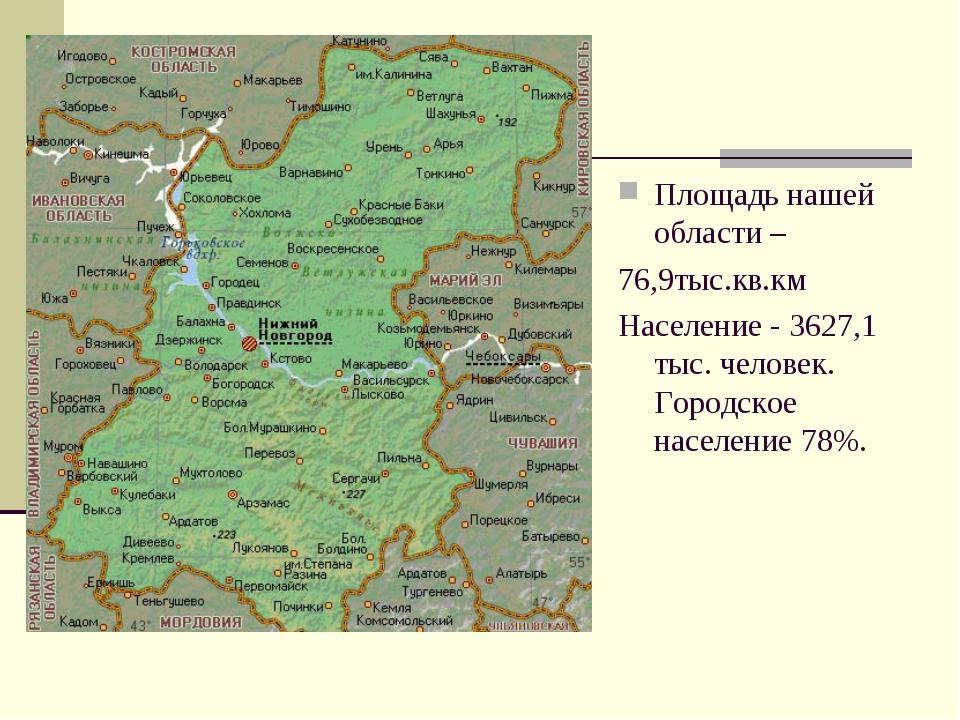 Площадь нашей области – 76,9тыс.кв.км Население - 3627,1 тыс. человек. Городс...