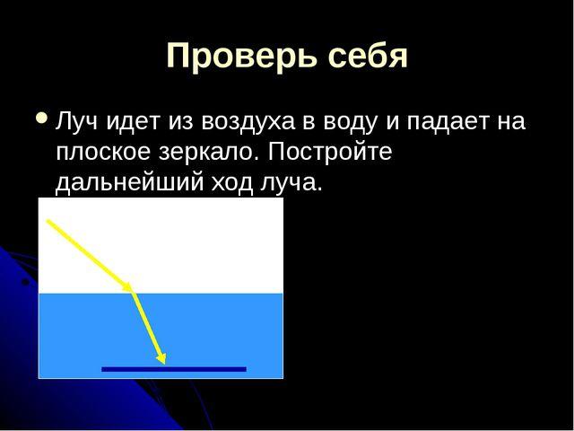 Проверь себя Луч идет из воздуха в воду и падает на плоское зеркало. Постройт...