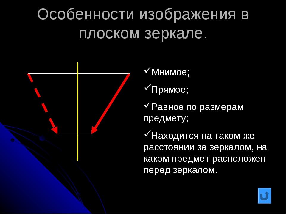 Особенности изображения в плоском зеркале. Мнимое; Прямое; Равное по размерам...