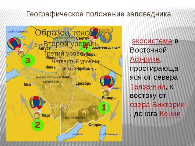 Географическое положение заповедника Серенге́ти—экосистемав ВосточнойАф-р...