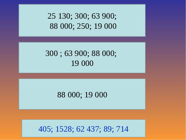 25 130; 300; 63 900; 88 000; 250; 19 000 300 ; 63 900; 88 000; 19 000 88 000;...