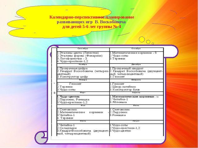 Календарно-перспективное планирование развивающих игр В. Воскобовича для дет...