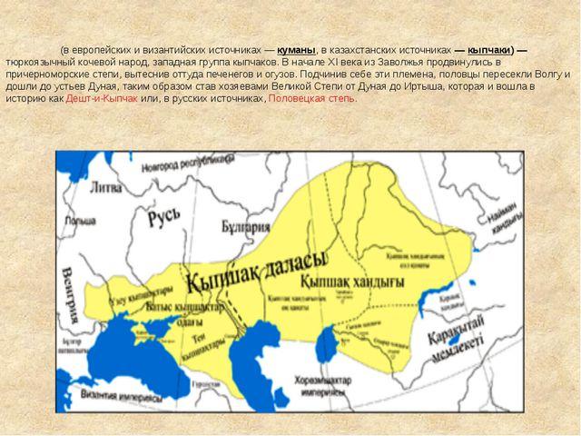 По́ловцы (в европейских и византийских источниках— куманы, в казахстанских и...