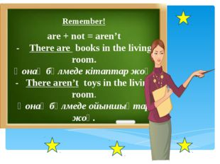 Grammar. Remember! are+not=aren't There are books on the shelf. There aren't
