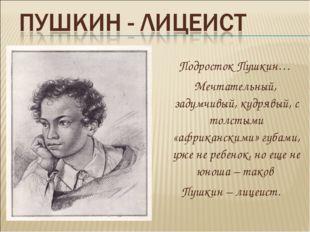 Подросток Пушкин… Мечтательный, задумчивый, кудрявый, с толстыми «африкански