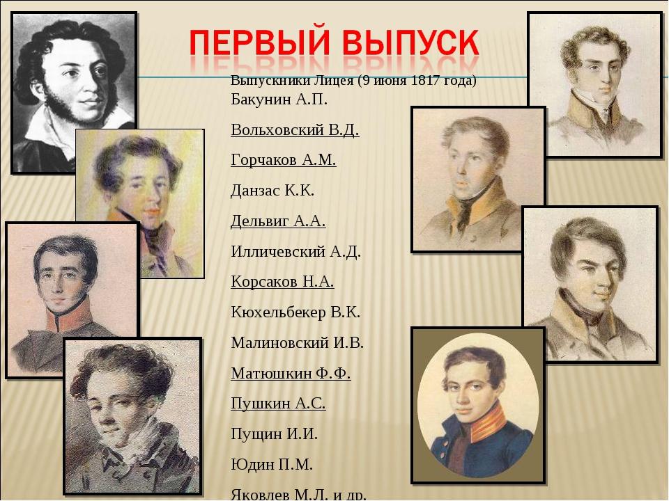 Выпускники Лицея (9 июня 1817 года) Бакунин А.П. Вольховский В.Д. Горчаков А....